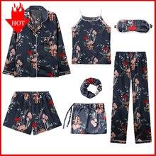 VDOGRIR 7 قطعة منامة مجموعات مضاهاة الحرير مخطط بيجامة المرأة ملابس خاصة مجموعات الربيع الصيف الخريف Homewear مجموعة الملابس الداخلية