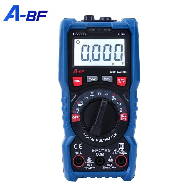 A-BF Portable Multimeter AC DC True RMS Intelligent Small Voltage Current Meter NCV Manual Range Auto Range Multimetro Backlight