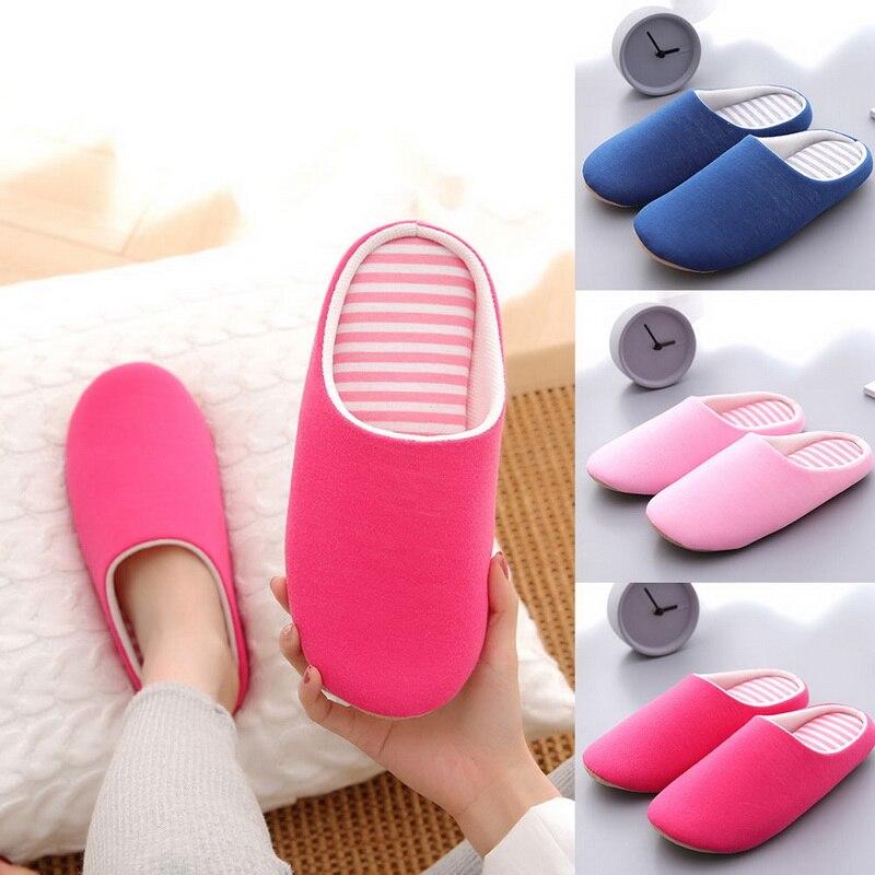 Women Indoor Slippers Short Plush Spring Autumn Flat Shoes Woman Home Bedroom Slides Striped Slip On Female House Floor Slippers