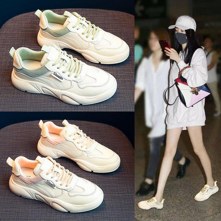حذاء رياضي أبيض للنساء ، حذاء كاجوال جديد تمامًا ، موسم الربيع والخريف