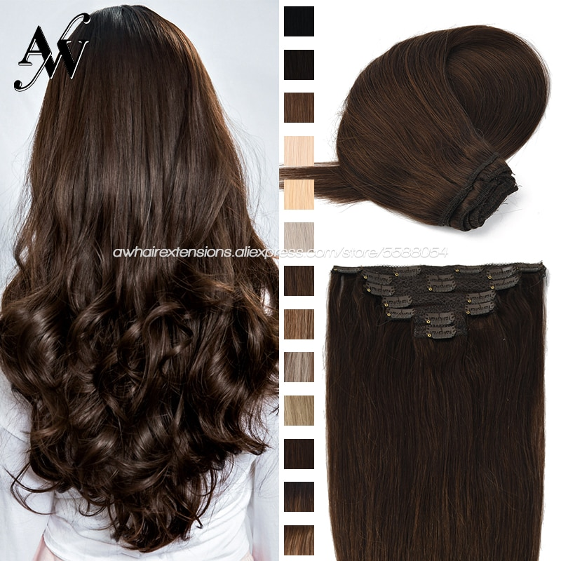 AW 16''-24'' Machine Remy Clip in Hair Extensions 7pcs/Set Full Head Double Weft Clips On Hair Balayage Ombre Color For Salon