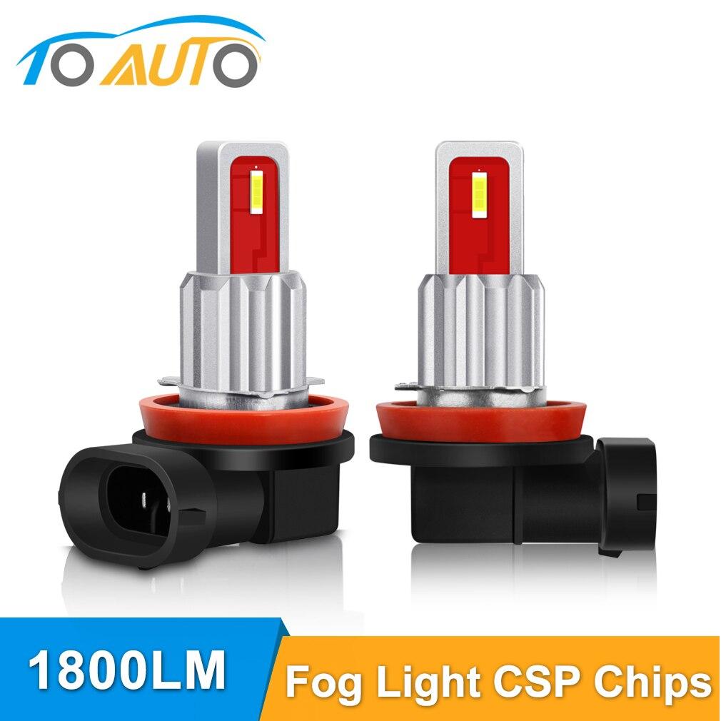 2 uds bombilla Led H8 H11 HB3 9005 HB4 9006 luces antiniebla 1800LM 6000K CSP Chips lámpara trasera Luz de coche aparcamiento Auto lámpara antiniebla conducción Led