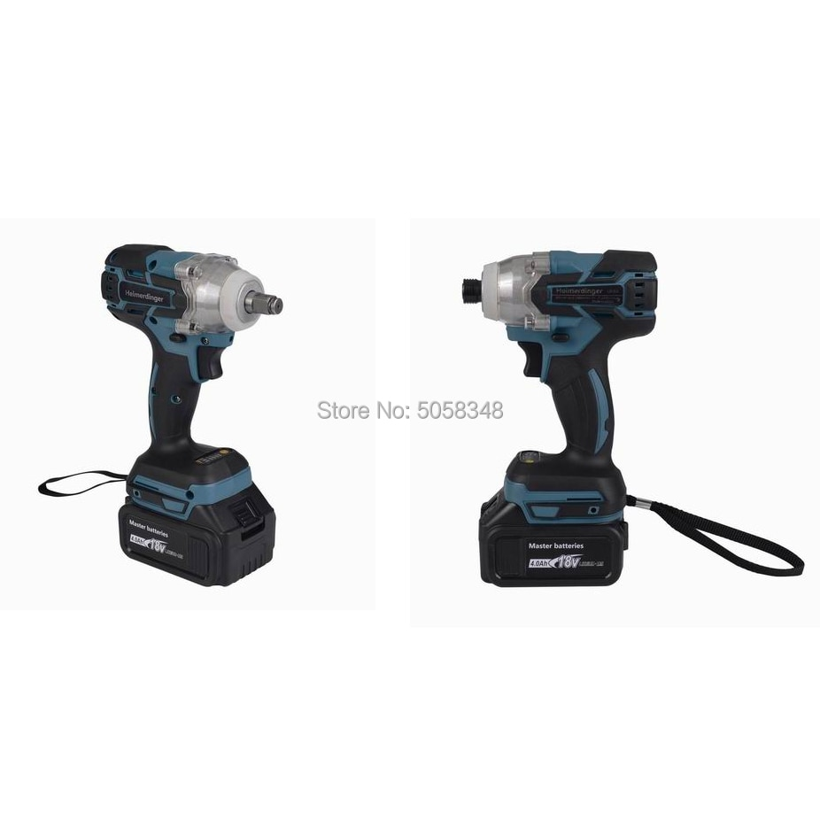 Electric Rechargeable Brushless Impact Wrench Cordless and brushless Impact driver drill combo with two 18V 4.0Ah Battery