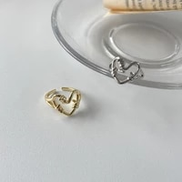 2021 new ring for women gold silver heart hollow japan and korea vintage open ring couple gift jewelry anillos mujer