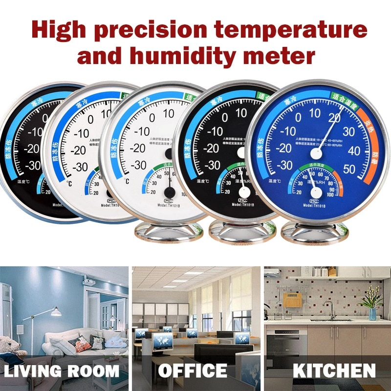 Wall Hanging Thermometer Dial Analog Hygrometer Temperature Gauge Stainless Steel Thermometer Meter Household Merchandises