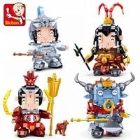 sluban three kingdoms series b0761 building block q version children model toy kids boys heroic figures christmas gifts