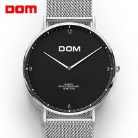 DOM Lovers Watch Top Brand Luxury Quartz watch Casual quartz-watch leather Mesh strap ultra thin clock male Relog M-36D-1MS