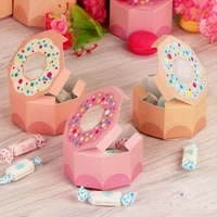 50pcs candy box hexagon gift box donut bag sweet chocolate packaging case for wedding theme party favor gifts