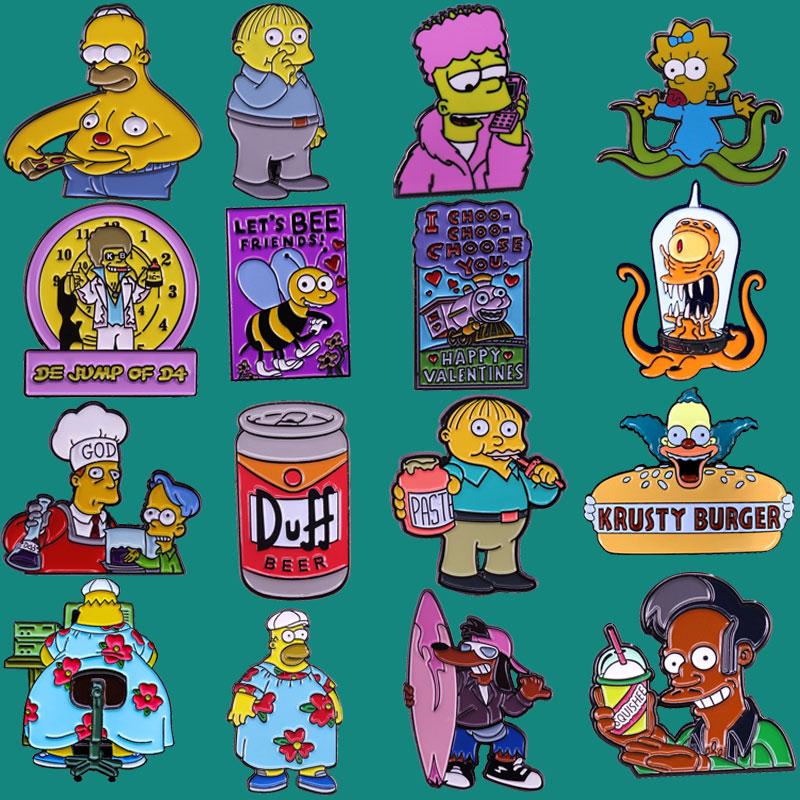 Эмалевая брошь на булавке Гомера Барта Лизы, Значки для коллекционирования аниме ТВ, нагрудные значки для мужчин и женщин, Модная бижутерия,...