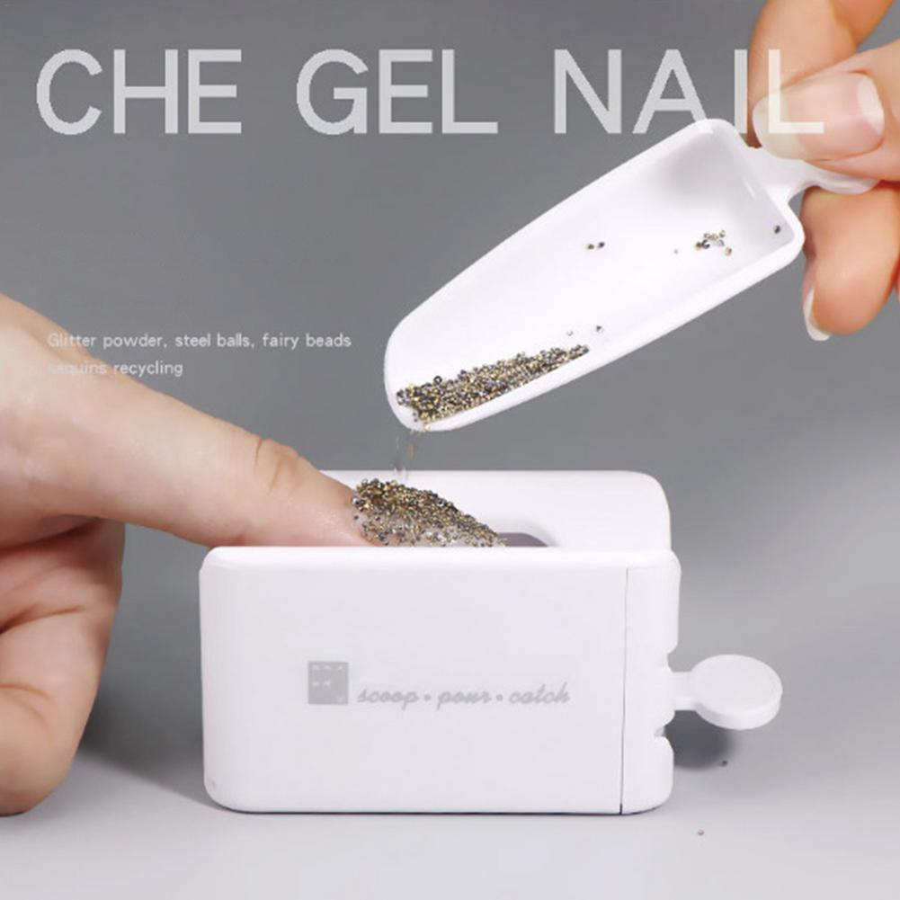 Nail Tool Double Layer French Recycling Powder Box Dipping Powder Collection Container Manicure Glitter Powder Storage Tools