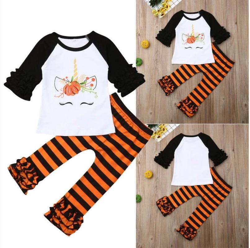 De Halloween de las Niñas Ropa calabaza unicornio Raglan camisetas raya naranja pantalón de volantes infantil niñas Boutique de ropa trajes
