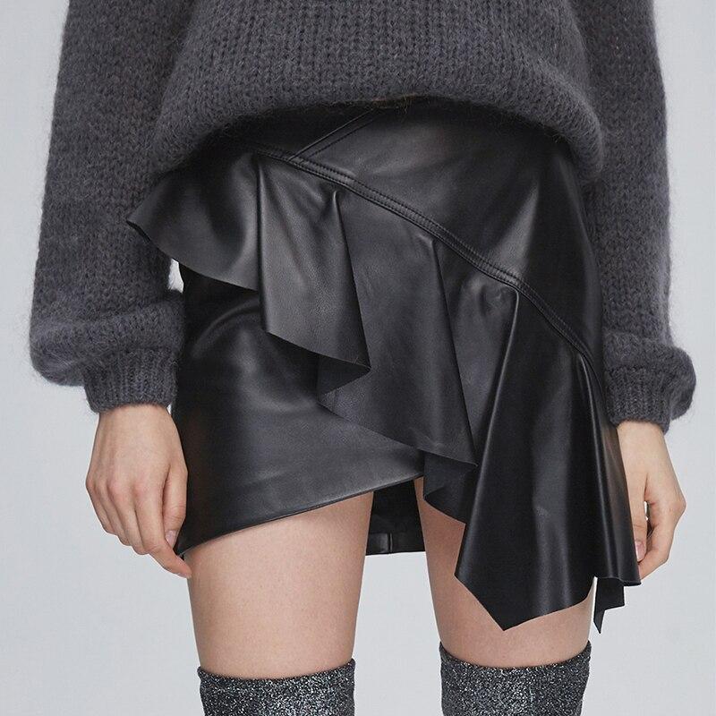Nerazzurri Asymmetric black leather skirt women Short high waist ruffle skirt Plus size skirts 2020 fashion ladies 5xl 6xl 7xl