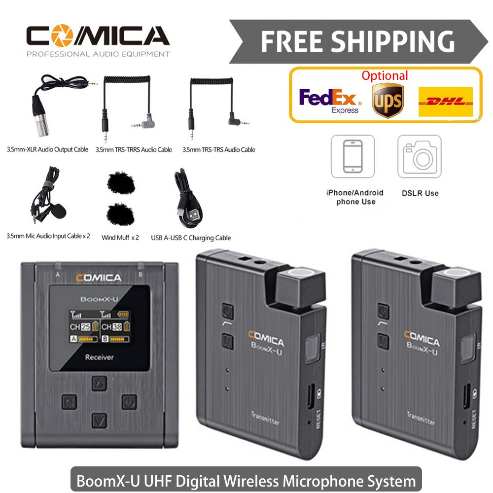 Comica BoomX U1/U2 Lavalier مكبر صوت لا سلكي ذو تردد فوق العالي نظام جهاز ريسيفر استقبال وإرسال عدة ستوديو Mic المهنية Vlog مقابلة