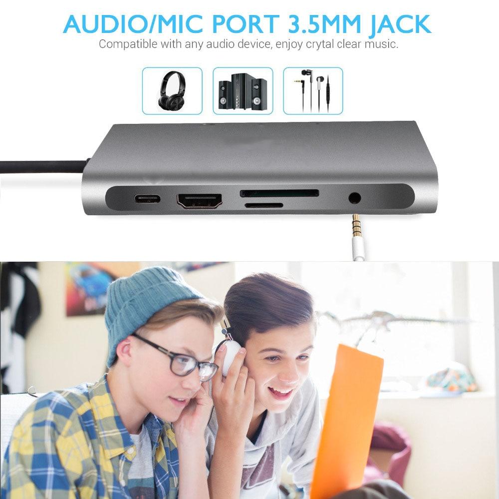 USB HUB Docking Station Type C Adapter USB 3.0 4K HDMI-compatible VGA RJ45 10 in 1 Converter for Macbook Pro Hub Thunderbolt 3