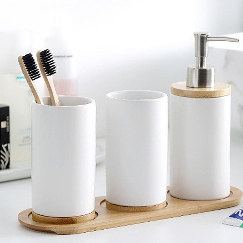 Taza de cerámica con subbotella, taza de agua con Base de bambú, copa de enjuague bucal para baño, accesorios de baño negros, 1 taza + 2 botellas + Base