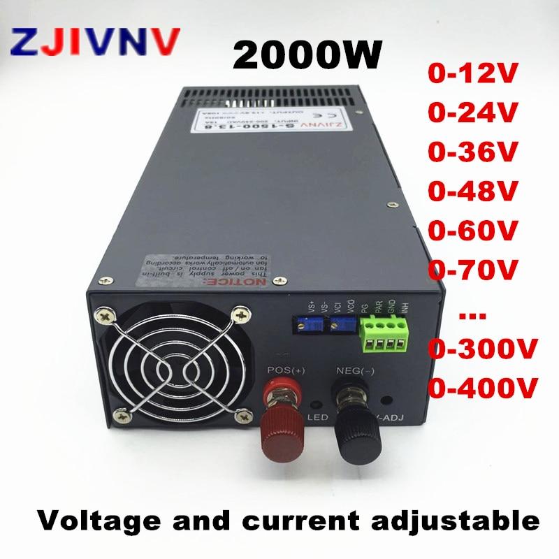 قابل للتعديل 2000W تحويل التيار الكهربائي 0-12V 15V 24V 27V 36V 48V 60V 72V 110V 220v 300V 400VDC امدادات الطاقة 110/220VAC المدخلات