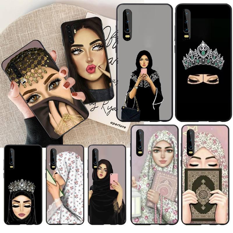 Penghuwan muçulmano árabe islâmico hijab rosto gril olhos alcorão caso de telefone para huawei honra 20 10 9 8 8x 8c 9x 7c 7a lite vista