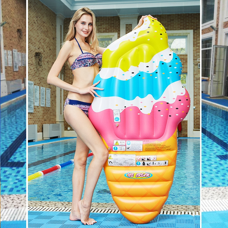 190cm giant floating island inflable swan ride on pool float beach mattress inflatable floating pool raft for swim pump for free Inflatable Mattress Ice Cream Floating Row Swim Ring Surfing Raft Summer Beach Lounge Pool Party Water Toy Cute Air Float Bed