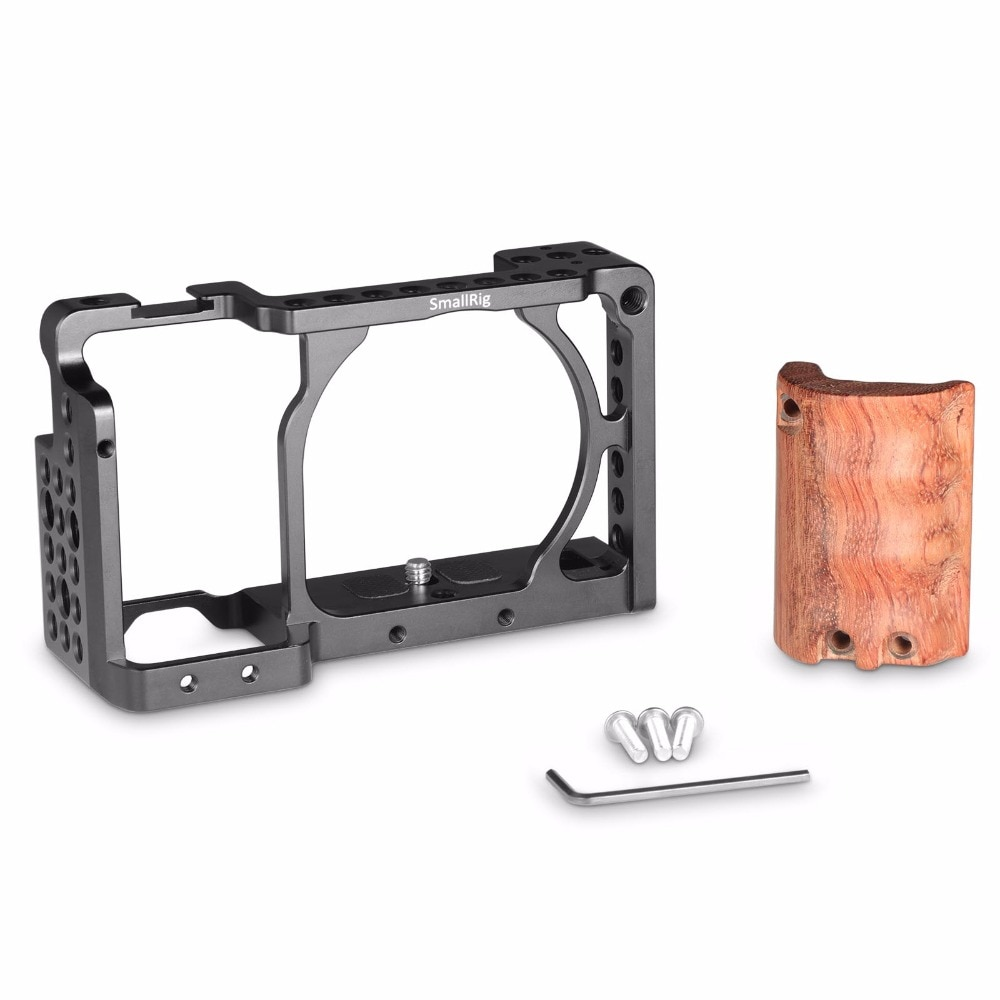 SmallRig for sony a6000 accessories for Sony A6300 / A6000 / ILCE-6000 / ILCE-6300 Cage W/ Wooden Handle Dual Camera Rig  - 2082 enlarge