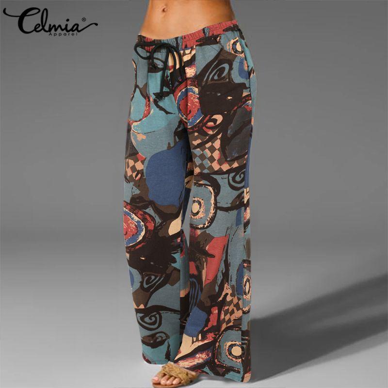 Celmia Vintage Mujer Pantalones Kaftan largo Palazzo 2020 de moda Casual Pantalones de pierna ancha bolsillos Lino Pantalones 5XL