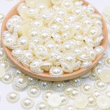 Résine 100P 9-19mm demi-rond fleur   Perles dimitation non poreuses, perles pour bijouterie, accessoires pour pince à cheveux bricolage