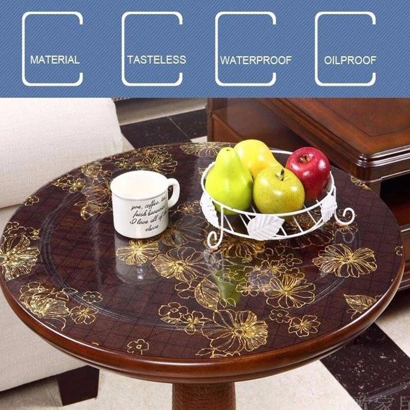 PVC translúcido de mesa de cristal de la cubierta de tela ronda impermeable hogar mantel de Hotel restaurante oro rosa decoración de la casa