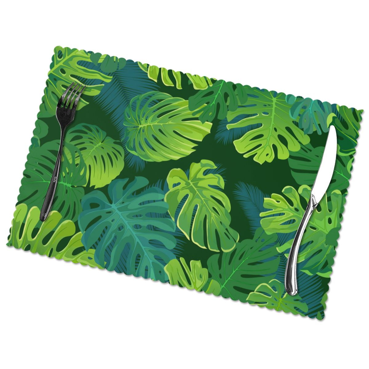 6 قطعة تحديد الموقع الاستوائية النخيل Monstera يترك أوراق الغابة النسيج الجدول الحصير أدوات المائدة المطبخ أداة الجدول الحصير