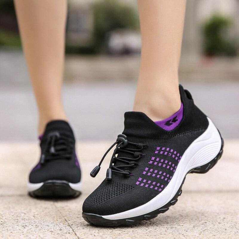 Zapatillas de tenis de plataforma informales Para Mujer, zapatos planos de malla...