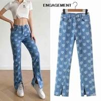 engagement za 2021 trafaluc trendy printed design pants split jeans autumn women pants straight pants