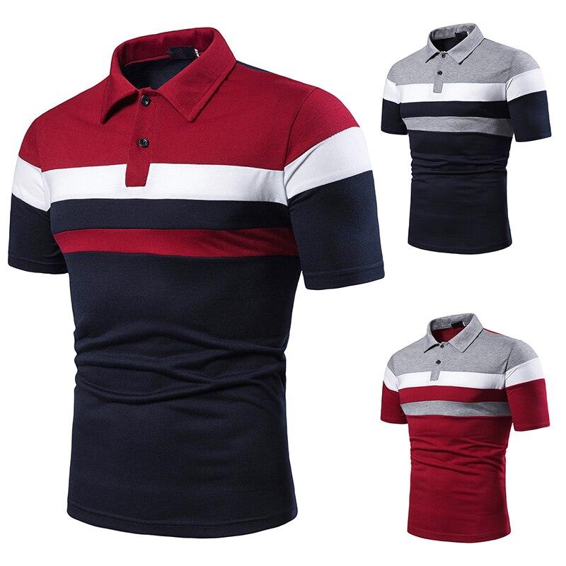 Мужская рубашка-поло с коротким рукавом, рубашка поло контрастного цвета, новая одежда, летняя Уличная Повседневная модная мужская рубашка