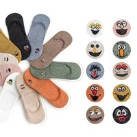 5 pair embroidered expression woman socks cool invisible sock slippers women summer boat no show cotton candy color