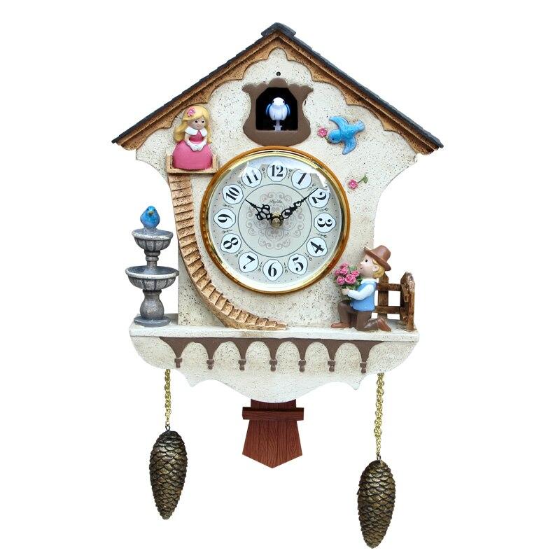 Pêndulo pastoral cuco relógio retro criativo grande dos desenhos animados relógio de parede sala estar simples reloj pared relógios com pássaro eb50wc