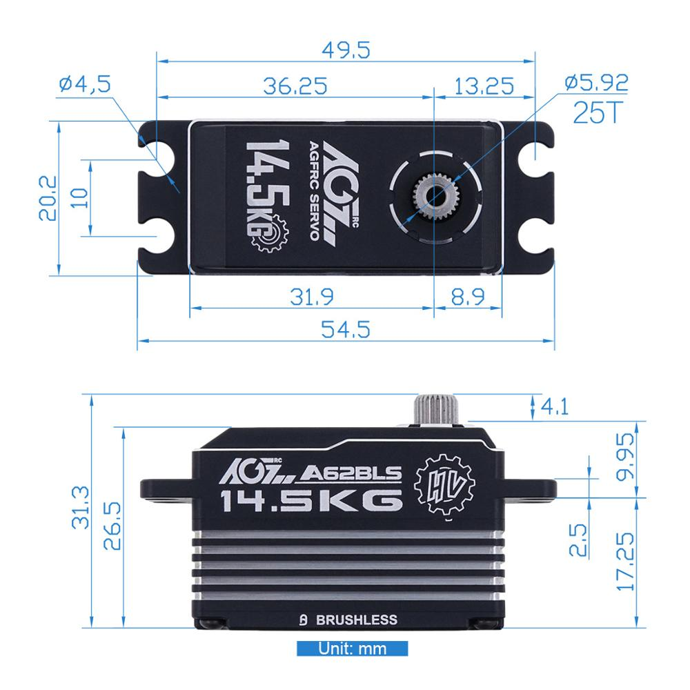 AGF A62BLS 12kg Brushless Motor Low Profile Competition Servo for 1:10 Scale RC Car enlarge