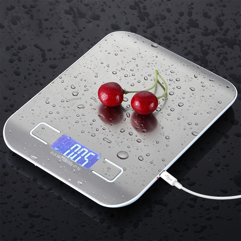 USB بالطاقة الرقمية المطبخ مقياس التوازن 10 كجم 1 جرام متعددة الوظائف ميزان المطبخ للخبز الطبخ المنزلية وزن ميزان إلكتروني