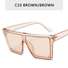 Vintage Male Flat Top Sunglasses Men Brand Black Square Shades Gradient Sun For Men Cool One Piece D