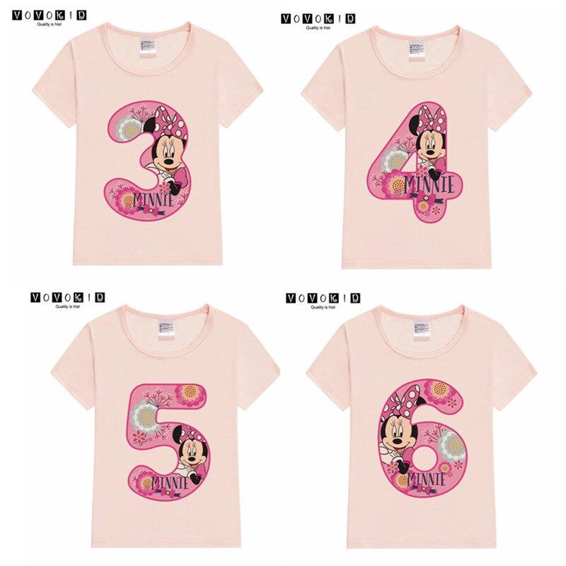 Футболки с изображением Минни Маус для маленьких девочек на день рождения, 1-9 лет детская футболка на день рождения Рождественская одежда для детей, подарок на черную пятницу