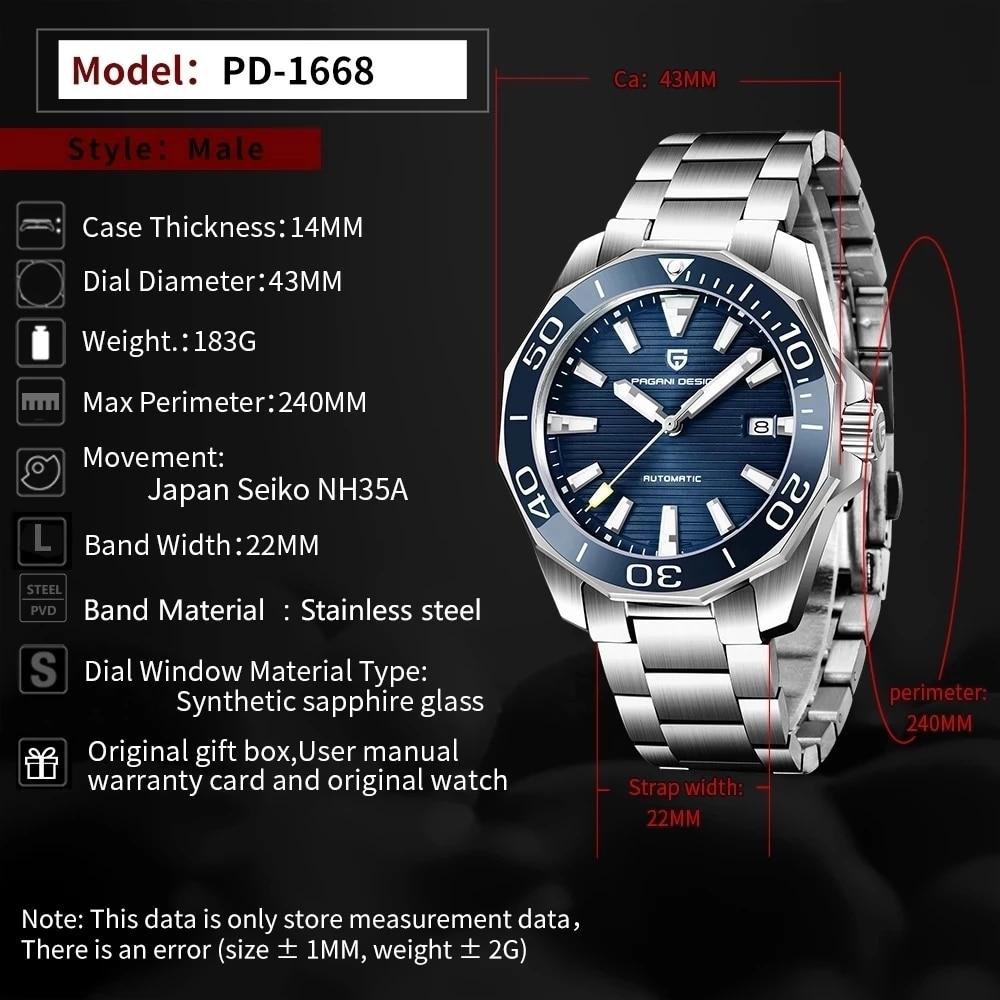 PAGANI DESIGN Top Brand Luxurious Men's Mechanical Watches Sapphire Glass 100M Waterproof Sports Fashion Business Watch relogio enlarge