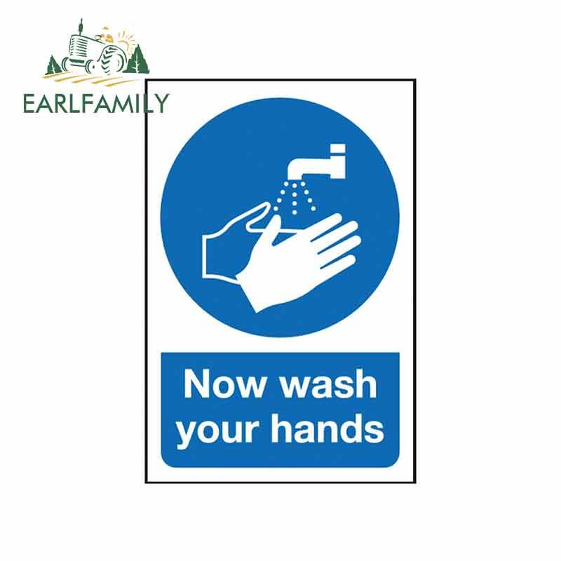 EARLFAMILY, 13cm x 8,8 cm, pegatina para coche, lavarse las manos, señal de advertencia, Pegatina autoadhesiva, diseño de vinilo para coche