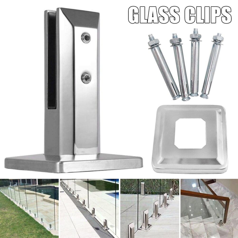 الثقيلة الفولاذ المقاوم للصدأ سياج بركة الزجاج كليب الطابق الزجاج الوقوف تركيبات ثابتة المشبك في الأوراق المالية