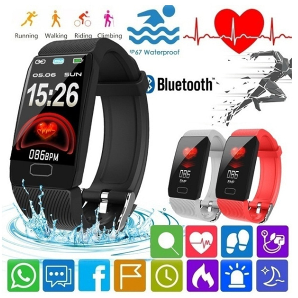 1.14 Inch Smart Band Weather Display Blood Pressure Heart Rate Monitor Fitness Tracker Smart Watch B