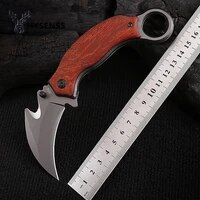 hysenss x52 high quality karambit cs go folding blade knife claw knives survival outdoor camping edc tools steel wood handel