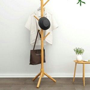 Solid Wood Bedroom Modern Floor Coat Rack Nordic Ins Household Clothes Hanging Bag Storage Hanging