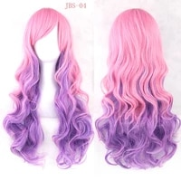 lolita wavy long wig hairpiece high temperature fiber synthetic hair pink black fade rainbow color women party hair cosplay wigs
