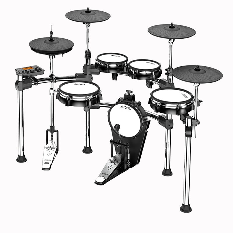 AROMA Foldable Electronic Drum Kit Stand Percussion Build-in Metronome 28 Groups Drum Tones 43 Groups Accompaniment MIDI Jack  - buy with discount