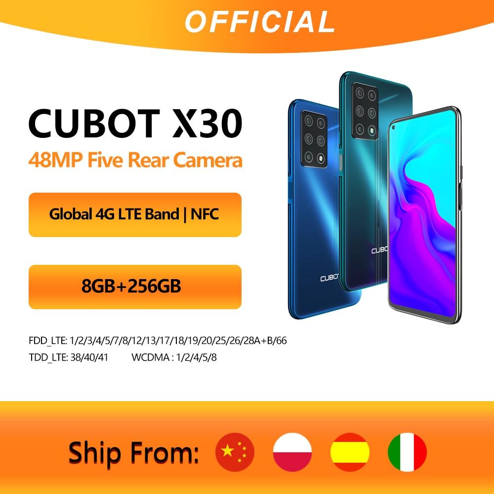 Перейти на Алиэкспресс и купить Cubot X30 смартфон 5 камер 48MP пять камер 32MP Фронтальная камера 6 + 128 ГБ/8 ГБ + 256 ГБ NFC 6,4 дюймFHD + Google Android 10 Глобальная Версия WIFI 2,4G/5G мобильные телефоны 4200...