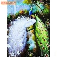 roamilydiy full squareround diamond paintingdiamond embroidery peacockembroidered with rhinestoneshome wall decoration