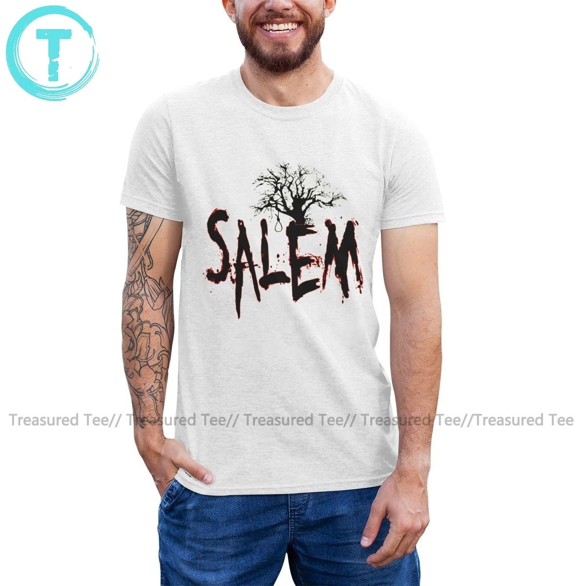 Salem T-Shirt Salem sorcière procès arbre noeud papillon T-Shirt coton à manches courtes T-Shirt imprimé hommes T-Shirt génial