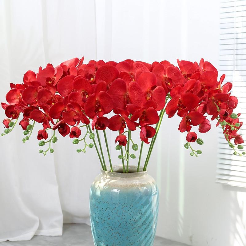 9 cabeças de flores artificiais verdadeiro toque artificial mariposa orquídea borboleta orquídea para casa nova decoração do festival casamento em casa