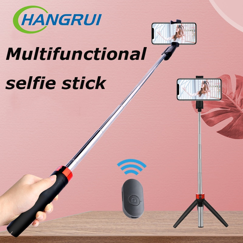 3 in 1 Bluetooth telescopic selfie stick mobile phone video live support stainless steel tripod mini bluetooth selfie stick