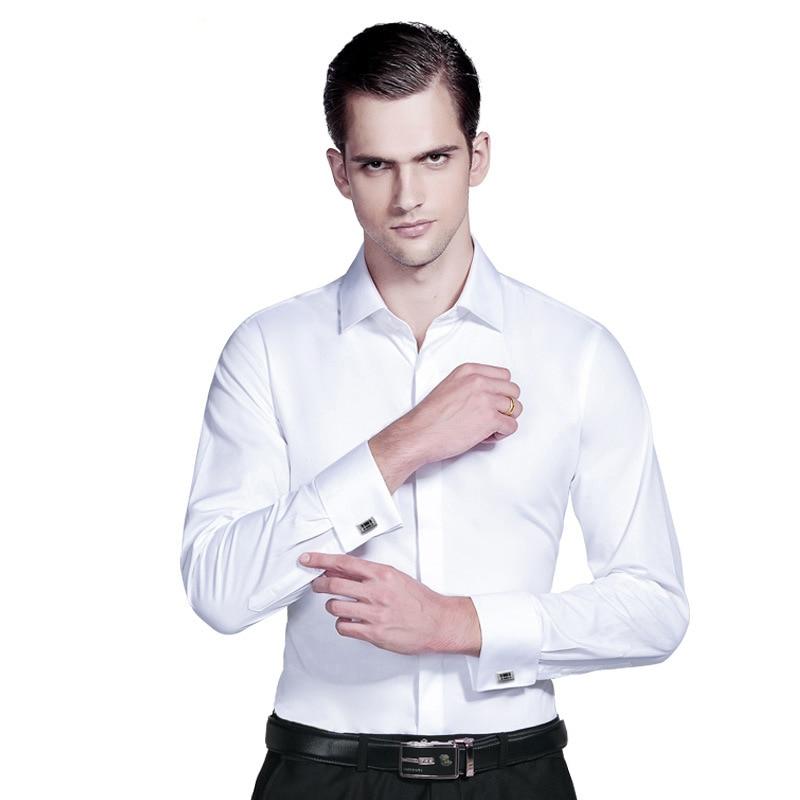 الرجال فستان قمصان الفرنسية الكفة سهرة طويلة الأكمام الزفاف الرسمي الأعمال قميص غير رسمي الرجال سليم صالح الفرنسية أزرار أكمام قميص
